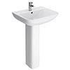 Turin Square Basin 550mm Round 1 TH Basin + Full Pedestal profile small image view 1