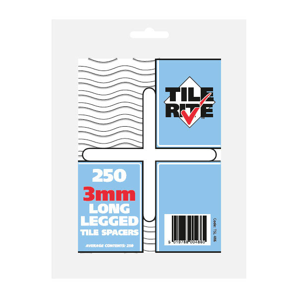 Tile Rite 3mm Long Leg Tile Spacers (Pack of 250) Large Image