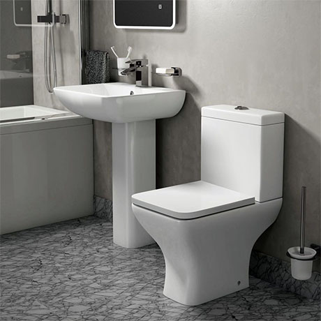 Turin Square Rimless 4-Piece Modern Bathroom Suite