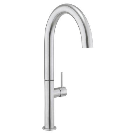 Crosswater - Cucina Tube Round Tall Side Lever Kitchen Mixer - Stainless Steel - TU712DS