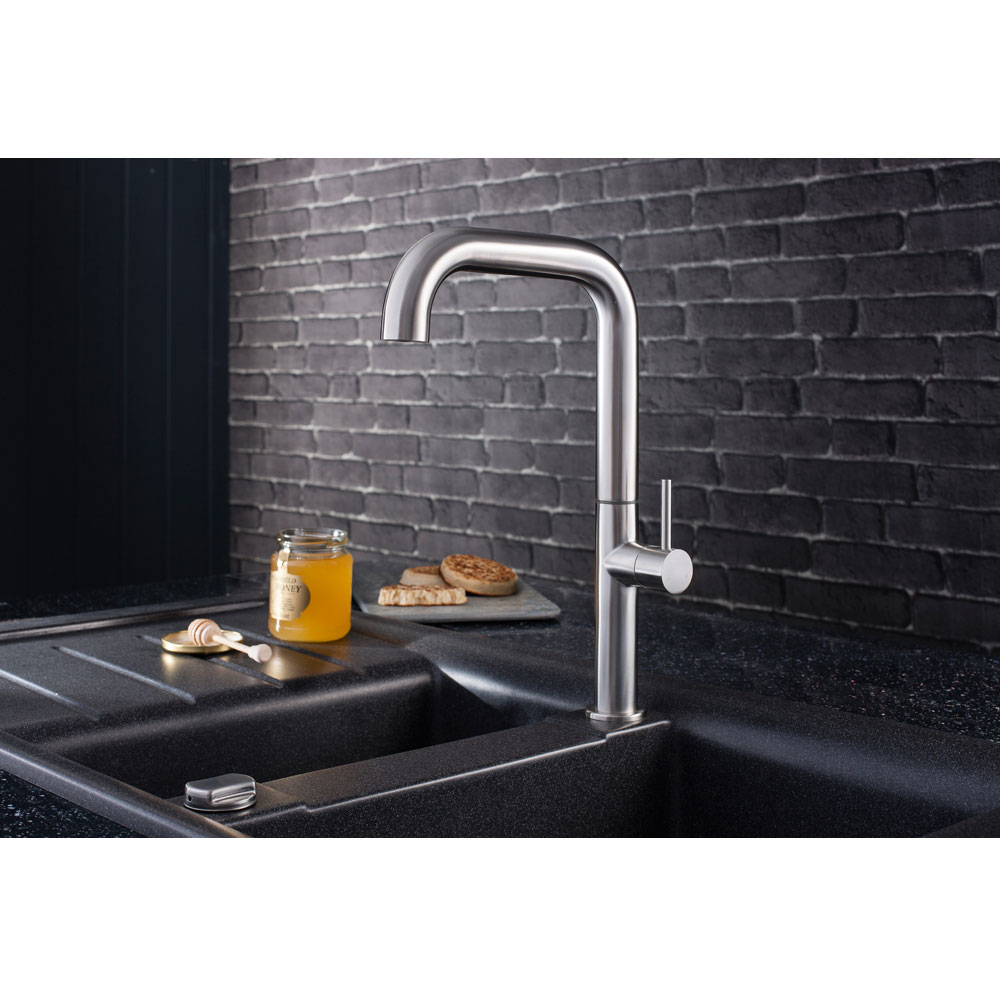 Crosswater - Cucina Tube Side Lever Kitchen Mixer - Stainless Steel - TU713DS Profile Large Image