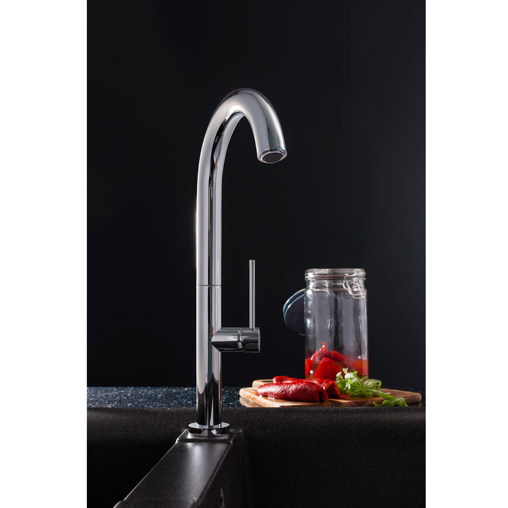Crosswater - Cucina Tube Round Side Lever Kitchen Mixer - Chrome - TU714DC profile large image view 2