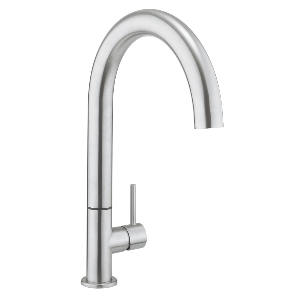Crosswater - Cucina Tube Round Side Lever Kitchen Mixer - Stainless Steel - TU714DS Large Image