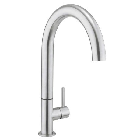 Crosswater - Cucina Tube Round Side Lever Kitchen Mixer - Stainless Steel - TU714DS
