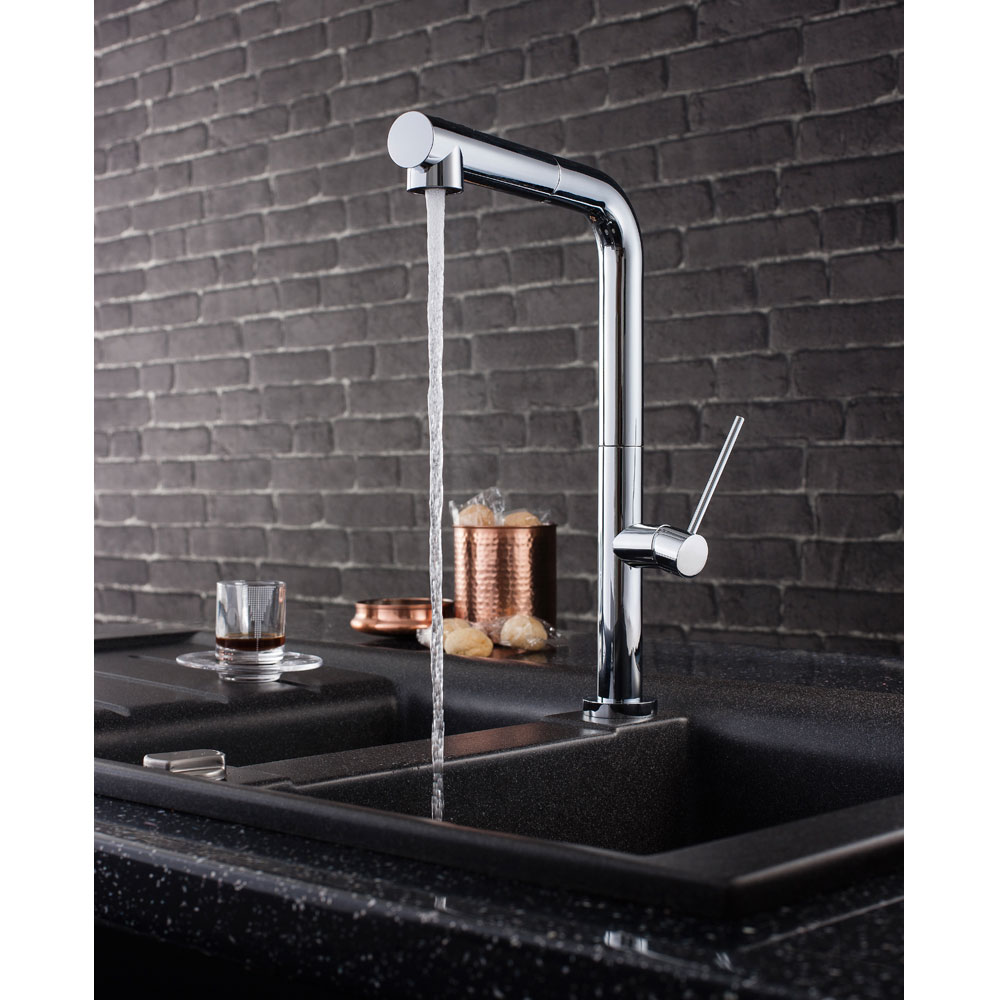 Crosswater - Cucina Tube Side Lever Kitchen Mixer with Dual Function Spray - Chrome - TU717DC profile large image view 2