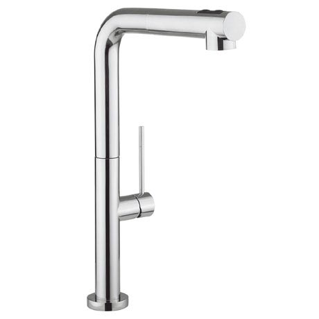 Crosswater - Cucina Tube Side Lever Kitchen Mixer with Dual Function Spray - Chrome - TU717DC