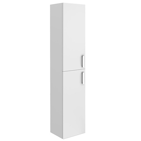 Turin Wall Hung 2 Door Tall Storage Cabinet - High Gloss White