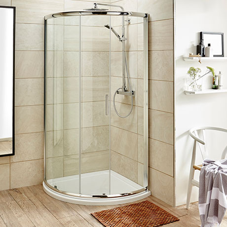 Turin 860 x 860mm Quadrant Shower Enclosure + Pearlstone Tray