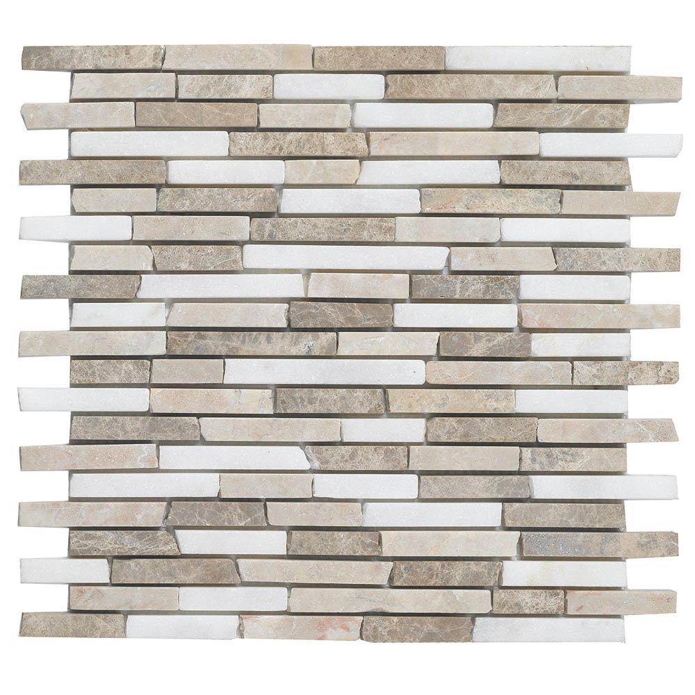Turin Brown Stone Mosaic Tile Sheet - 290 x 325mm