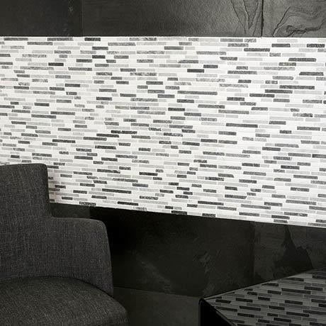 Turin Grey Stone Mosaic Tile Sheet - 290 x 325mm