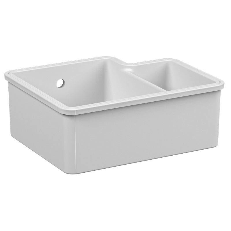 Reginox Tuscany 1.5 Bowl White Ceramic Undermount Kitchen Sink profile large image view 2