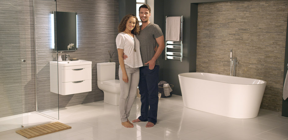 young couple in modern bathroom