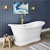 Trafalgar 1685 x 745 Double Ended Slipper Roll Top Bath profile small image view 1