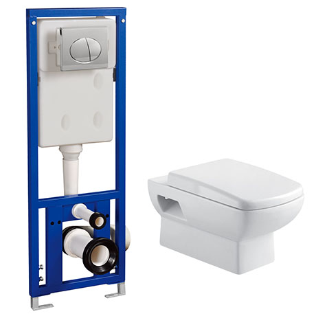 Turin Wall Hung Toilet with Concealed Cistern + Frame