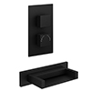 Turin Matt Black Wall Mounted Waterfall Bath Filler + Concealed Thermostatic Valve profile small image view 1