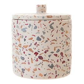 Toreno Terrazzo-Effect Concrete Cotton Jar with Lid