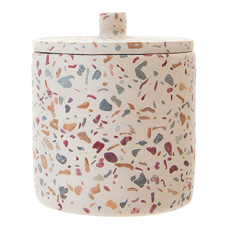 Turin Terrazzo-Effect Concrete Cotton Jar with Lid