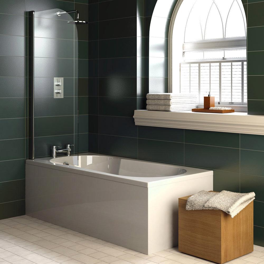 Taranto Keyhole Shower Bath & Legset - 1700x800mm Profile Large Image