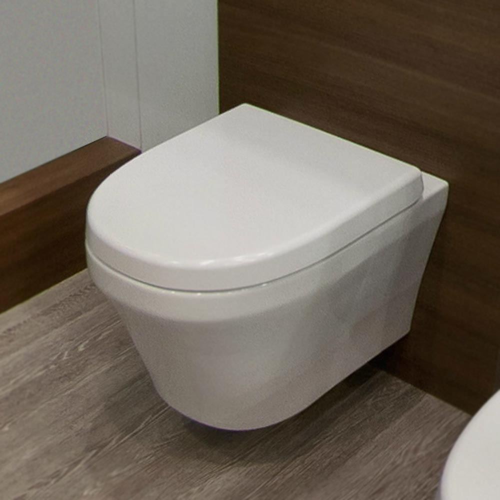 Toronto Modern Round Wall Hung Toilet Inc. Soft Close Seat profile large image view 2