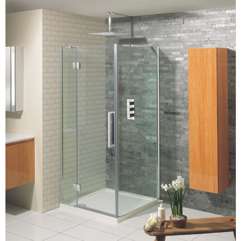 Simpsons - Ten Hinged Shower Door with Inline Panel - 5 Size Options Standard Large Image