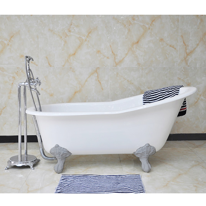 Thames Cast Iron Bath with Chrome Feet (1700 x 780mm Slipper Flat Rim) Large Image
