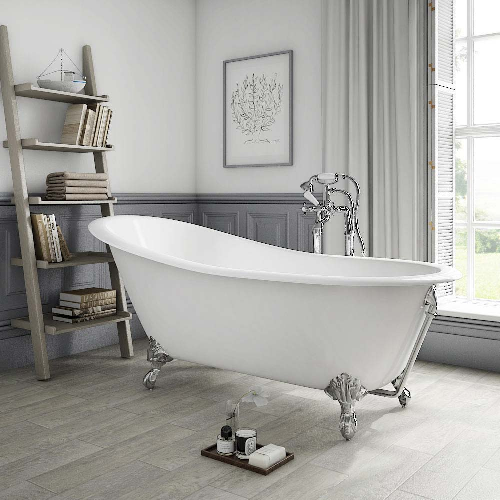 Thames Cast Iron Bath with Chrome Feet (1700 x 780mm Slipper Flat Rim)