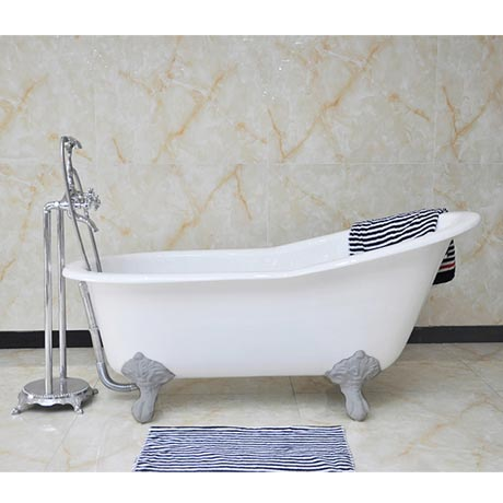 Thames Cast Iron Bath with Chrome Feet (1700 x 780mm Slipper Flat Rim)