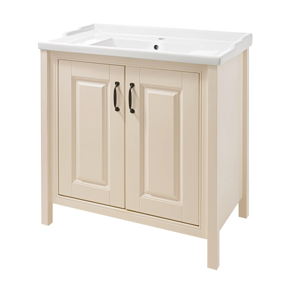 Thames Traditional Vanity Unit with Basin - Cream Large Image