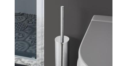 Toilet Brush and Toilet Brush Holder Next To Toilet