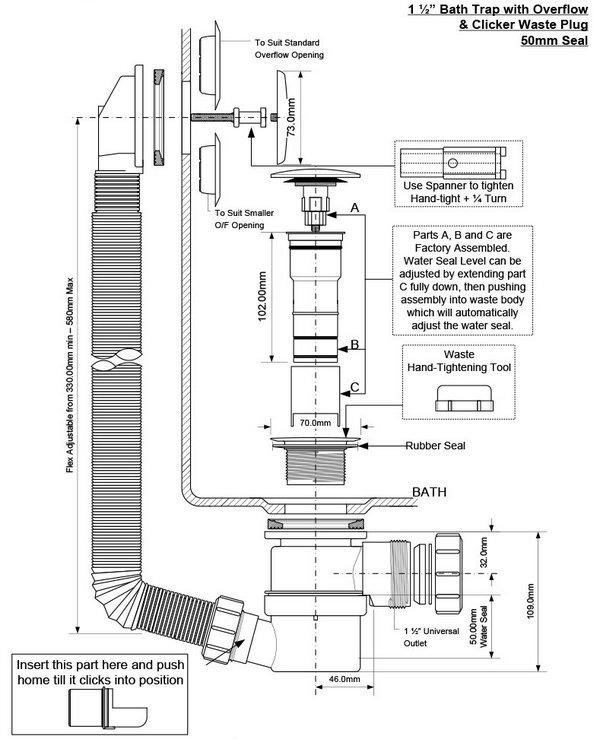 Bottle trap dimensions kitchen sink bottle trap size for Bathroom p trap size