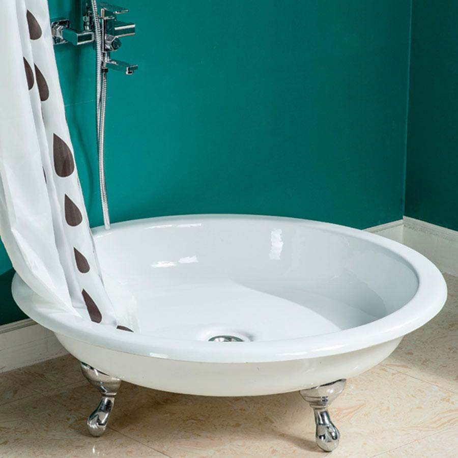 Traditional 1040mm Round Freestanding Cast Iron Shower Tray with Ball + Claw Feet Large Image