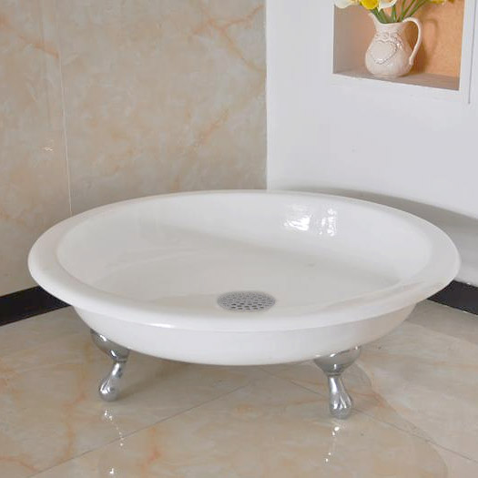 Traditional 1040mm Round Freestanding Cast Iron Shower Tray with Ball & Claw Feet Large Image