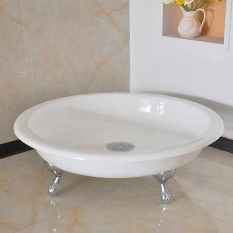 Traditional 1040mm Round Freestanding Cast Iron Shower Tray with Ball & Claw Feet