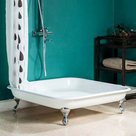 Traditional 1060mm Square Freestanding Cast Iron Shower Tray Inc. Ball +& Claw Feet