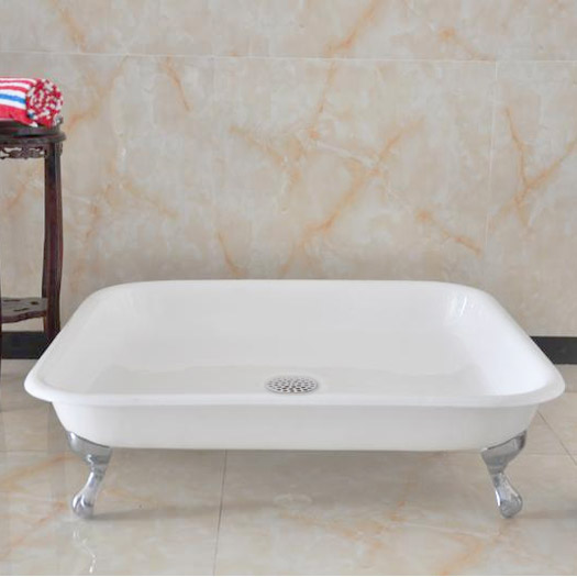 Traditional 1060mm Square Freestanding Cast Iron Shower Tray with Ball & Claw Feet Profile Large Image