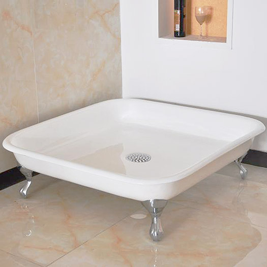 Traditional 1060mm Square Freestanding Cast Iron Shower Tray with Ball & Claw Feet Large Image