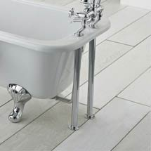 Traditional Chrome Standpipes with Adjustable Shrouds for Roll Top Baths Medium Image