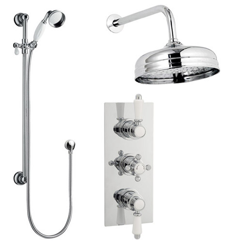 Traditional Concealed Shower Valve w. Slide Rail Kit & Wall Mounted Fixed Head