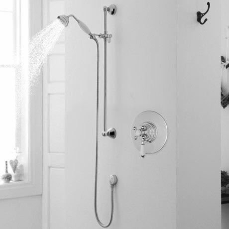 Lancaster Traditional Dual Concealed Thermostatic Shower Valve + Slider Rail