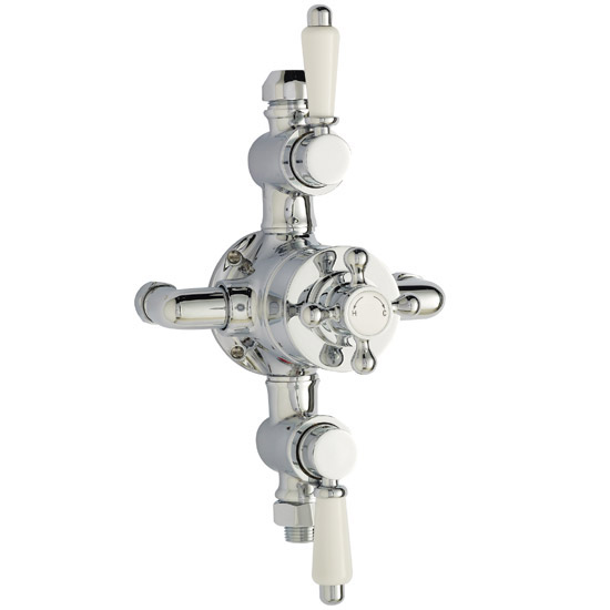 "Premier - Traditional Exposed Thermostatic Triple Shower Valve w Riser, 4"" Rose & Slide Rail Kit Profile Large Image"