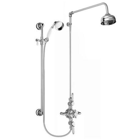"Premier - Traditional Exposed Thermostatic Triple Shower Valve w Riser, 4"" Rose & Slide Rail Kit"