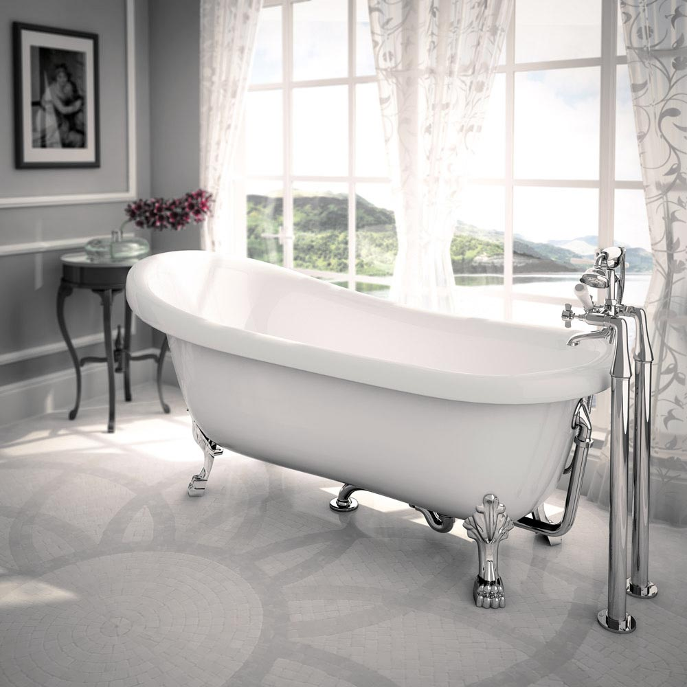 Traditional Luxury Exposed Free Standing Bath Drainage Kit - Chrome profile large image view 2