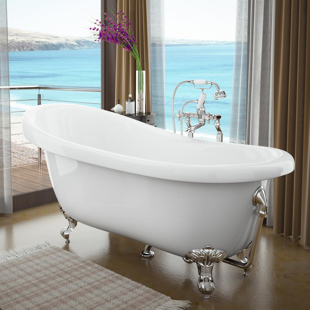 Traditional Luxury Exposed Retainer Bath Tub Waste - Chrome profile large image view 2