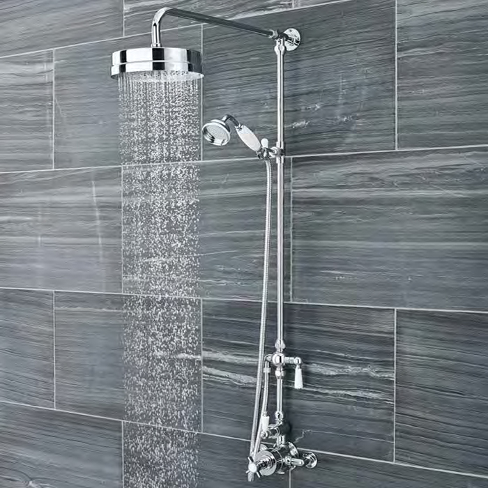 Ultra Traditional Luxury Rigid Riser Kit with Diverter & Twin Exposed Shower Valve Large Image