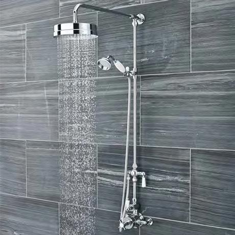 Ultra Traditional Luxury Rigid Riser Kit with Diverter & Twin Exposed Shower Valve