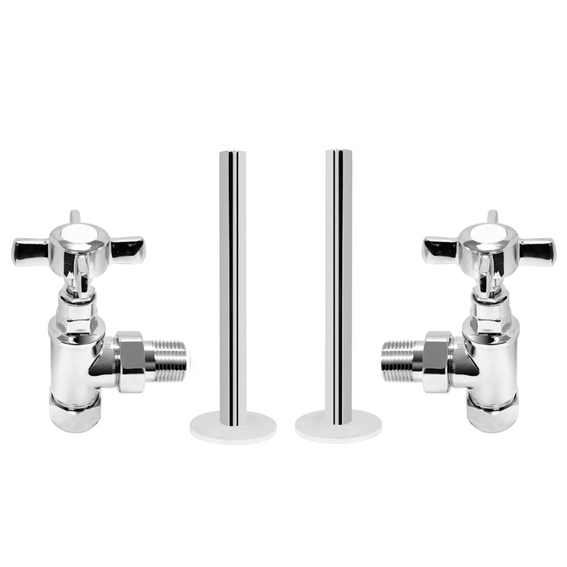 Traditional Mayfair Heated Towel Rail with Pair of Angled Crosshead Radiator Valves Profile Large Image