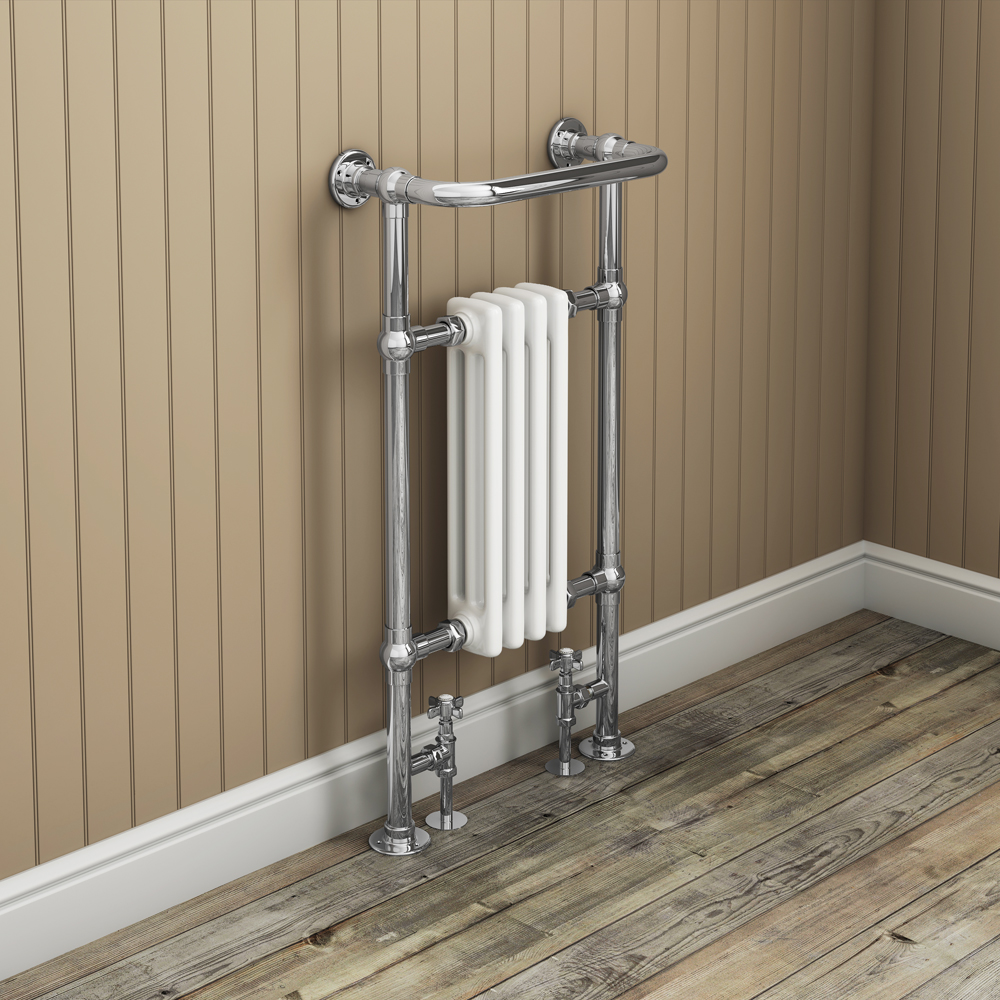 Traditional Mayfair Heated Towel Rail with Pair of Angled Crosshead Radiator Valves Feature Large Image