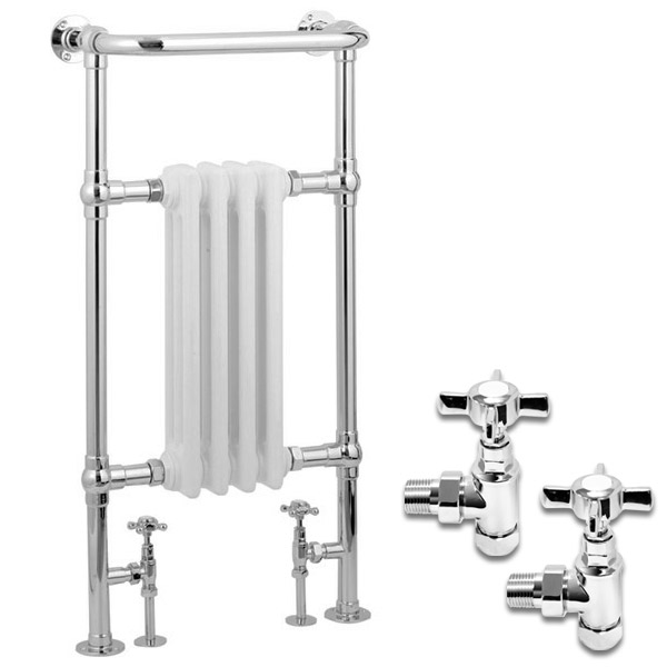 Traditional Mayfair Heated Towel Rail with Pair of Angled Crosshead Radiator Valves profile large image view 1