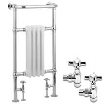 Traditional Mayfair Heated Towel Rail with Pair of Angled Crosshead Radiator Valves Medium Image
