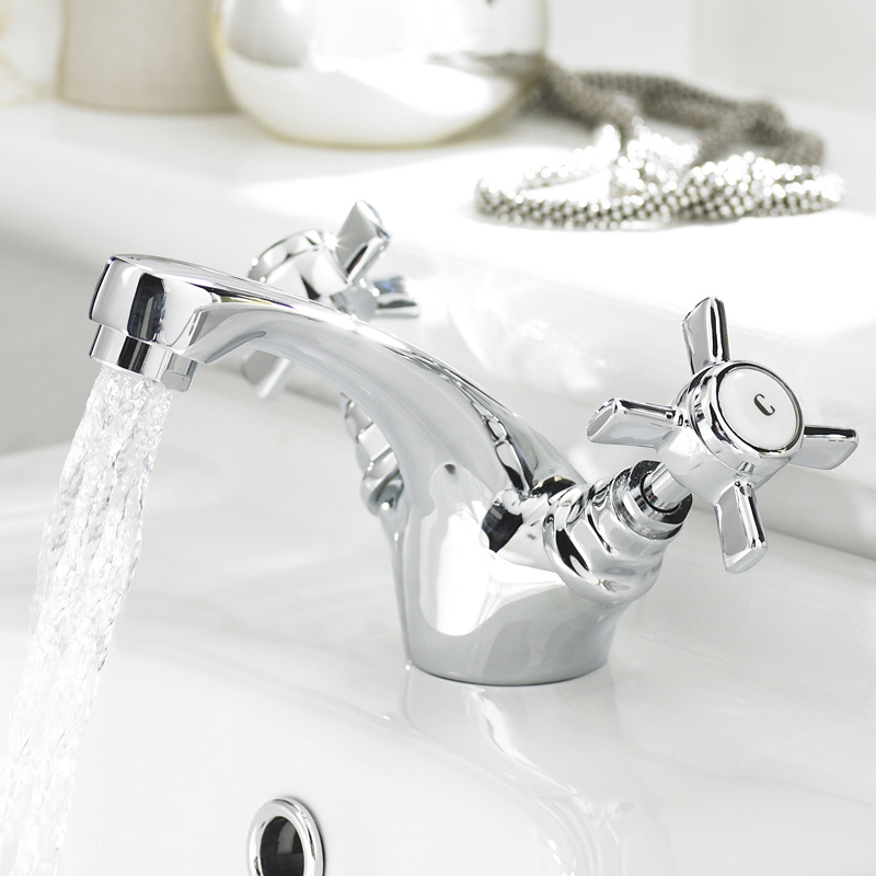 Traditional Mono Basin Mixer Tap inc Pop-Up Waste - Chrome - IJ345 Profile Large Image